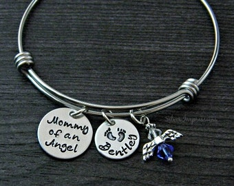 Mommy of an Angel / Wire Bangle Bracelet / Miscarriage / Infant Loss Jewelry / Angel Bracelet / Personalized / Hand Stamped