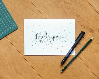 Hand lettered and hand painted silver dot thank you card