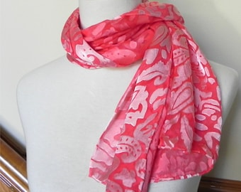 """Silk scarf rose red Devore satin hand dyed silk scarf 14""""x 58"""" is ready to ship silk scarf #422"""