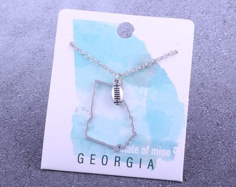 Customizable! State of Mine: Georgia Football Silver Necklace - Great Football Gift!