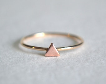 Gold Triangle Ring, Triangle Ring Gold, Copper Triangle Ring, Stackable Ring, Stacking Ring, Dainty Ring, Copper Ring