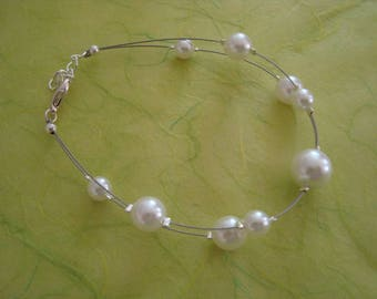 Bracelet double White Pearl glass beads