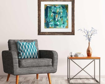 Abstract art print, giclee art print, blue abstract art, interior art print, contemporary abstract, modern mid century, modern interior art