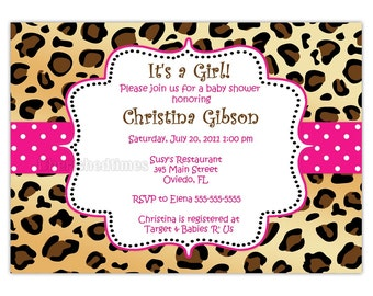 Leopard Zebra Or Any Animal Print Baby Shower Birthday Or Any Event Invitation (Digital)