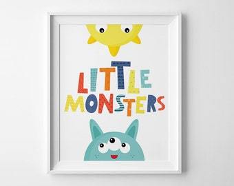 Kids room decor, playroom print, wall art quote, Little monsters, kids prints, gender neutral print, art illustration, nursery wall decor