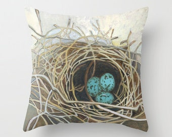 Nest pillow from an acrylic painting by Kathy Johnson