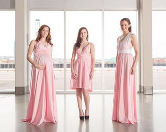 Blush Pink Short Convertible Dress / Custom Size / Plus size & maternity included