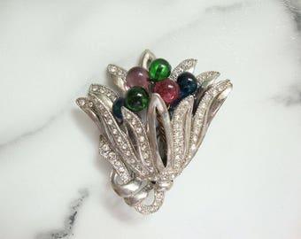 Antique Art Deco Brooch, Vintage Fruit Salad Molded Glass Dress Clip, Art Deco Jewelry, 1920s Deco Rhinestone Clip