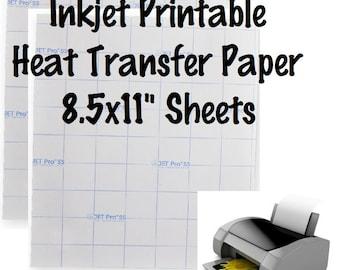 "2 Sheets Jet-Opaque Inkjet Transfer Paper Printable Heat Transfer Vinyl Printable HTV 8.5x11"" Sheets For Dark Fabric"