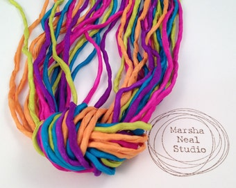 Hand Dyed Silk Ribbon - Silk Cord - Jewelry Supplies - Wrap Bracelet - Craft Supplies -  Neon Carnival Color Palette by Marsha Neal Studio
