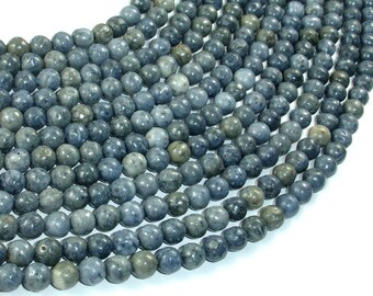 Blue Sponge Coral Beads, 6mm Round Beads, 15.5 Inch, Full strand, Approx 65 beads, Hole 0.8mm (163054010)