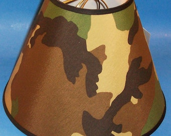 Green Camo Camouflage Lamp Shade Military Army