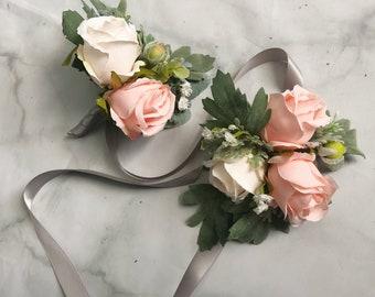 Wedding Boutonniere Corsage Groomsmen Groom Peach Cream Pink Artificial Faux Prom Flowers Wedding Decor