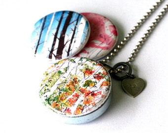 Birch Tree Necklace, Picture Locket, Birch Forest, Woodland,Upcycled Jewelry, Made by Polarity, Recycled Jewelry, Nature Lover,Silver Locket
