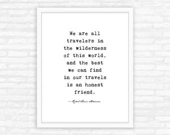 Best Friends Gift Print for Her, Typewriter Quote Print, wall art, Robert Louis Stevenson quote