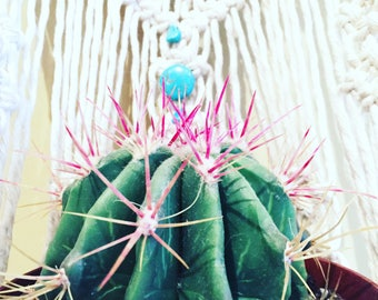 Beaded Shabby Chic Hanging Planter- Wall Accent- Turquoise Bohemian Decor- Dorm Decor~ Planter~ Modern Macrame- White Wall Accent- Boho Home