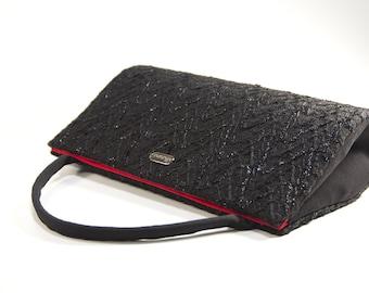 Retro, black purse, unique handmade handbag, top handle, evening bag, formal