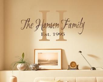 Elegant Family Wall Decal - Family Monogram - Vinyl Wall Decal - Personalized Family Name Decal Family Monogram Family Established Date