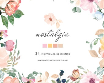 Hand Painted Watercolor Pastel Colors Wild Rose Clipart Blush Pink Rose Clipart Separate Elements Commercial Use | E135 Nostalgia