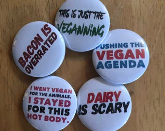 The Vegan Agenda Button Set, Backpack Pin Sale, Discount Bulk Badges Pins Boho Buttons, Diary is Scary, Vegan Vibes, Veganism Animal Rights