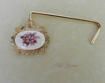 Vintage Handbag Caddy Porcelain Flower Purse Hook, Purse Hanger Jewelry