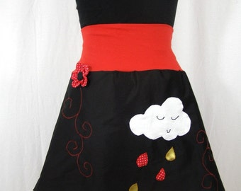 Skirt rain cloud and flower in relief