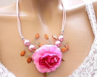 Pink flower branch necklace orange leaves