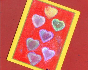 Colorful Hearts Fine Art Note Card