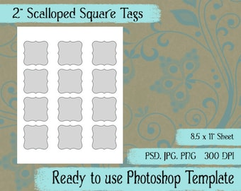 "Scalloped Square Seals, Tags - Digital Layered Collage Sheet Template:  2"" x 2"""