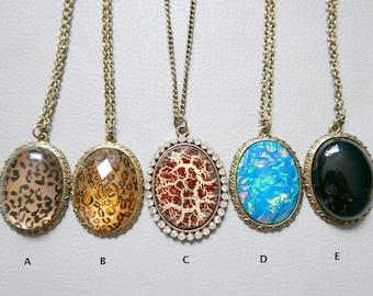 Cabochon Necklace Antique Bronze Necklace  Long Pendant Necklace Diamond Inlaid Circle Necklace Mosaic  Necklace Leopard print Necklace