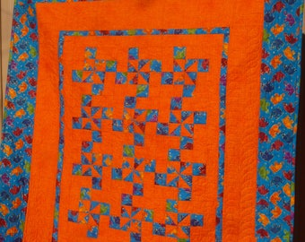 Orange Elephants Lap Quilt or Wall Hanging - FREE SHIPPING