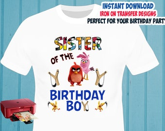 Angry Birds , Sister , Iron On Transfer , Sister Birthday Shirt Designs , Angry Birds DIY Sister Shirt Transfer , Digital Files , Instant