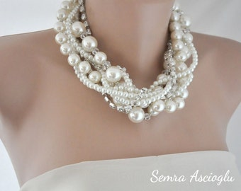 Chunky Statement Pearl Necklace, Necklace ,chunky , Pearl and Rhinestone Necklace