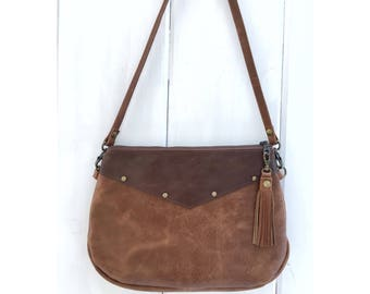 Leather small crossbody bag, leather crossbody clutch, zippered crossbody purse, distressed genuine leather, handmade USA, festival bag