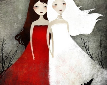 Snow White and Rose Red 42/100 - Deluxe Edition Print - Whimsical Art