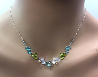 Apatite, Rainbow Moonstone and Peridot Necklace in Sterling Silver