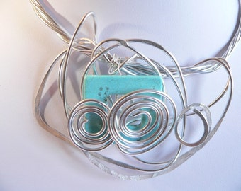 Silver wire.Statement necklace .Funky wearable art.Unique.