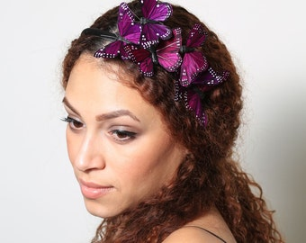 Dark Purple Butterfly Headband - woodland, fairy tale