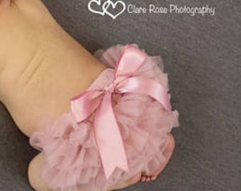 Baby Bloomer, Vintage Pink Ruffle Bum Bloomer with Satin Bow, diaper cover, photo prop, newborn ruffle bloomer, newborn bloomer , ready to s