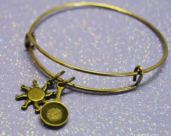 Tangled Bangle Bracelet, Tangled Jewelry, Rapunzel Bracelet, Frying Pan and Sun Bronze Charms, Who Knew, Right? by Life is the Bubbles