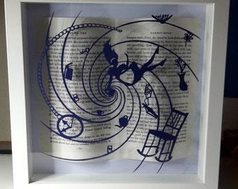 Alice in Wonderland framed art work. Papercutting.