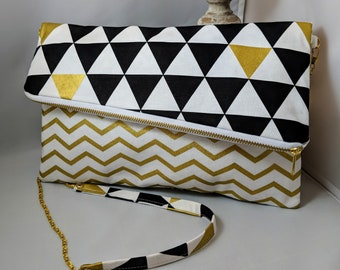 Modern Triangle and Cheveron Fold Over Clutch