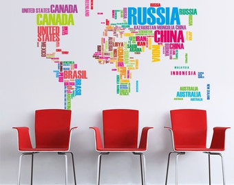 World Map Wall Decal - AW0035