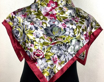Red silk scarf vintage scarf gift for her E1 Size 32""