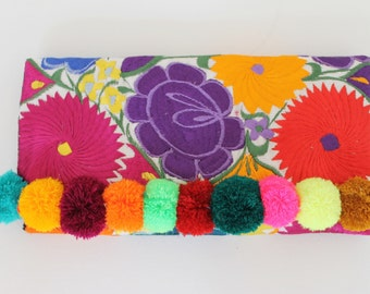 Multi Pom Pom Handmade Embroidered Clutch