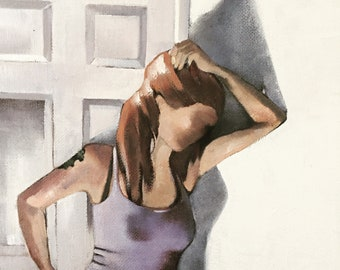 PAIGE, original  FIGURATIVE ART, female figure painting 12x9 original oil painting,girl painting,girl with shadow art