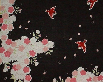 Furoshiki Cloth 'Sparrows and Cherry Blossoms' Black Cotton Japanese Fabric 50cm w/Free Insured Shipping