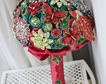 wedding brooch bouquet red green vintage style
