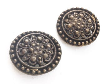 vintage eco friendly ornate antiqued gold tone metal open work shank buttons--matching lot of 2