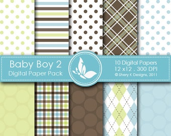 Baby Boy 2 Paper Pack - 10 Printable Digital Scrapbooking paper - 12 x12 - 300 DPI //////2